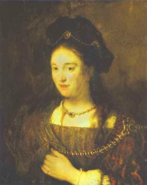 렘브란트는 아내의 초상화를 통해 이상적인 여인상을 구현하고자 했습니다.
